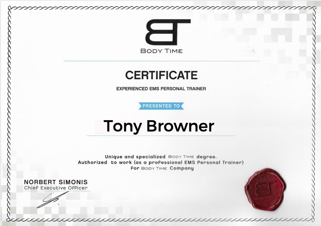 Certificate Body Time EMS Fitness with Personal Trainer for Weight Loss and Toning